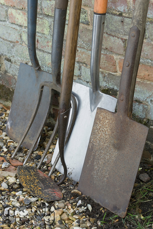 Garden Shovels and Tools Leaning on Brick Wall