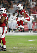 Arizona Cardinals rookie defensive back Marqui Christian (25) leaps in the air during the 2016 NFL preseason football game against the Oakland Raiders on Friday, Aug. 12, 2016 in Glendale, Ariz. The Raiders won the game 31-10. (©Paul Anthony Spinelli)
