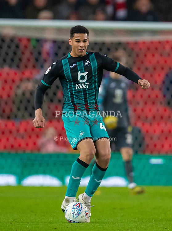 STOKE-ON-TRENT, ENGLAND - Saturday, January 25, 2020: Swansea City's Ben Cabango during the Football League Championship match between Stoke City FC and Swansea City FC at the Britannia Stadium. (Pic by David Rawcliffe/Propaganda)