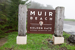 National Park Service sign for Muir Beach, Golden Gate National Recreation Area, Marin County, California, United States of America