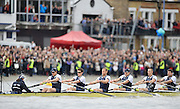 Putney- Mortlake, LONDON, GREAT BRITAIN,  Oxfords' right to left;  3. Kevin BAUM, 4. Alex DAVIDSON,5. Karl HUDSPITH, 6. Dr. Hanno WIENHAUSEN, 7. Dan HARVEY, Stk. Roel HAEN, Cox. Zoe DE TOLEDO. in the opening minutes of the 2012 Boat Race, Oxford University vs Cambridge University. Raced over the championship course. Putney/Mortlake, Saturday  07/04/2012  [Mandatory Credit, Peter Spurrier/Intersport-images]..Crews:.OUBC. Bow Dr. Alexander WOODS, 2. William ZENG, 3. Kevin BAUM, 4. Alex DAVIDSON,5. Karl HUDSPITH, 6. Dr. Hanno WIENHAUSEN, 7. Dan HARVEY, Stk. Roel HAEN, Cox. Zoe DE TOLEDO...CUBC. Bow. David NELSON, 2. Moritz SCHRAMM, 3. Jack LINDEMAN, 4. Alex ROSS , 5.Michael THORP, 6. Steve DUDEK, 7  Alexander SCHARP, Stk. Niles GARRETT . Cox. Ed BOSSON .