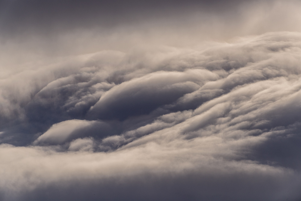 Clouds tumbing from mountains, Iceland