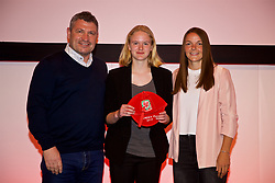 NEWPORT, WALES - Saturday, May 19, 2018: Phoebe Hampson is presented with her Under-16's cap by Osian Roberts (left) and Lauren Dykes (right) during the Football Association of Wales Under-16's Caps Presentation at the Celtic Manor Resort. (Pic by David Rawcliffe/Propaganda)