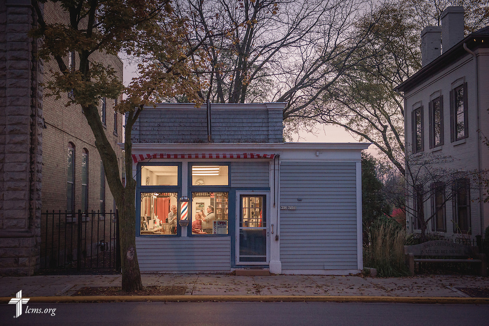 A barbershop at sunrise on Friday, Oct. 28, 2016, in Cedarburg, Wis. LCMS Communications/Erik M. Lunsford
