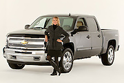 ROYAL OAK, MICHIGAN - OCTOBER 12: Michelle Lange, a former Executive Leader and Brand Manager at General Motors, poses with a Chevy Silverado pickup truck in Royal Oak, MI, Wednesday, October 12, 2011. Lange is currently Chief Marketing Officer at Billhighway and Adjunct Faculty at Walsh College. (Jeffrey Sauger)