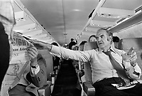 1972 --- George McGovern on his campaign plane during the 1972 Presidential primary. --- Image by © Owen Franken/CORBIS