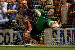 Coventry City's Joe Murphy fails to stop a penalty - Photo mandatory by-line: Mitchell Gunn/JMP - Tel: Mobile: 07966 386802 08/10/2013 - SPORT - FOOTBALL - Brisbane Road - Leyton - Leyton Orient V Coventry City - Johnstone Paint Trophy