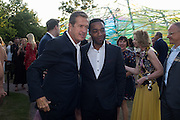 Mario Testino; Chiwetel Ejiofor, Serpentine's Summer party co-hosted with Christopher Kane. 15th Serpentine Pavilion designed by Spanish architects Selgascano. Kensington Gardens. London. 2 July 2015.