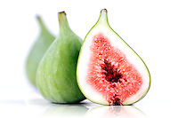 Figs on white background - close-up