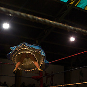 Carman Rosa (left) warms up in the ring with tag team-mate Yolanda La Amorosa (right) as they prepare to take on two men during the 'Titans of the Ring' wrestling group's Sunday performance at El Alto's Multifunctional Centre. Bolivia. The wrestling group includes the fighting Cholitas, a group of Indigenous Female Lucha Libra wrestlers who fight the men as well as each other for just a few dollars appearance money. El Alto, Bolivia, 11th April 2010. Photo Tim Clayton