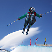 Devin Logan, USA, in action while winning the Women's Halfpipe Finals during The North Face Freeski Open at Snow Park, Wanaka, New Zealand, 3rd September 2011. Photo Tim Clayton..