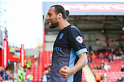 Sheffield Wednesday Forward Atdhe Nuhiu celebrates his goal during the Sky Bet Championship match between Brentford and Sheffield Wednesday at Griffin Park, London, England on 26 September 2015. Photo by Phil Duncan.