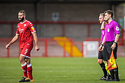 Joe McNerney, Defender with Crawley Town (5)   after thanking the officials following the EFL Sky Bet League 2 match between Crawley Town and Scunthorpe United at The People's Pension Stadium, Crawley, England on 19 September 2020.