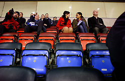 UK ENGLAND WIGAN 9FEB10 - Miss England, Katrina Hodge (22) is interviewed by SPIEGEL-Reporter Dialika Krahe as she attends the football match between Premier League clubs Wigan and Stoke City at the VIP section of the Wigan Football stadium. Katrina Hodge is on a week-long tour to promote the beauty pageant and careers at the armed forces in northern England...jre/Photo by Jiri Rezac..© Jiri Rezac 2010