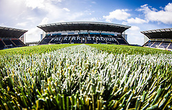 A close-up view of the new plastic pitch at The Falkirk Stadium, for the Scottish Championship game v Hamilton. The woven GreenFields MX synthetic turf and the surface has been specifically designed for football with 50mm tufts compared with the longer 65mm which has been used for mixed football and rugby uses.  It is fully FFA two star compliant and conforms to rules laid out by the SPL and SFL.<br />