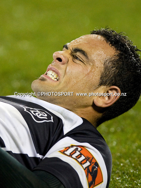 Hawkes Bay's Kahn Fotuali'i gets some attention to his leg late in the game. ITM Cup. Canterbury v Wellington at AMI Stadium, Christchurch. Friday 30 July 2010. Photo: Joseph Johnson/PHOTOSPORT
