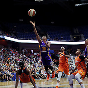 UNCASVILLE, CONNECTICUT- JULY 15:  Nneka Ogwumike #30 of the Los Angeles Sparks is called for a charging foul on Camille Little #2 of the Connecticut Sun during the Los Angeles Sparks Vs Connecticut Sun, WNBA regular season game at Mohegan Sun Arena on July 15, 2016 in Uncasville, Connecticut. (Photo by Tim Clayton/Corbis via Getty Images)