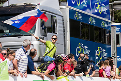 Fan with flag during 4th Stage of 26th Tour of Slovenia 2019 cycling race between Nova Gorica and Ajdovscina (153,9 km), on June 22, 2019 in Slovenia. Photo by Matic Klansek Velej / Sportida