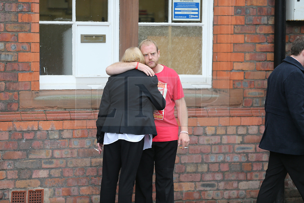 © Licensed to London News Pictures. 28/06/2017. Warrington, UK. Families leave Parr Hall. Families of the 96 people killed at the Hillsborough disaster in 1989 will today find out if criminal charges will be brought after Prosecutors examining files identified 23 criminal suspects. Families will be informed of the decisions by Sue Hemming, CPS Head of Special Crime & Counter-Terrorism at Parr Hall in Warrington. Photo credit: Andrew McCaren/LNP
