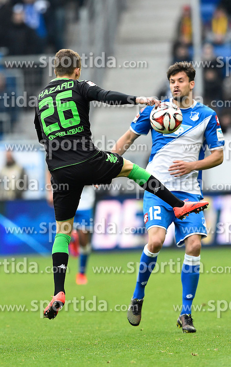 04.04.2015, Rhein Neckar Arena, Sinsheim, GER, 1. FBL, TSG 1899 Hoffenheim vs Borussia Moenchengladbach, 27. Runde, im Bild Zweikampf Aktion Tobias Strobl TSG 1899 Hoffenheim (rechts) gegen Thorgan Hazard Borussia Moenchengladbach (links) // during the German Bundesliga 27th round match between TSG 1899 Hoffenheim and Borussia Moenchengladbach at the Rhein Neckar Arena in Sinsheim, Germany on 2015/04/04. EXPA Pictures &copy; 2015, PhotoCredit: EXPA/ Eibner-Pressefoto/ WEBER<br /> <br /> *****ATTENTION - OUT of GER*****