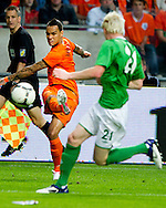 NETHERLANDS, Amsterdam In action for    Gregory van der Wiel(l)  The Netherlands versus   Ryan McGivern      Northern Irland during friendly soccer match between Netherlands vs Northern Irland in Rotterdam on June 2, 2012. AFP PHOTO/ ROBIN UTRECHT