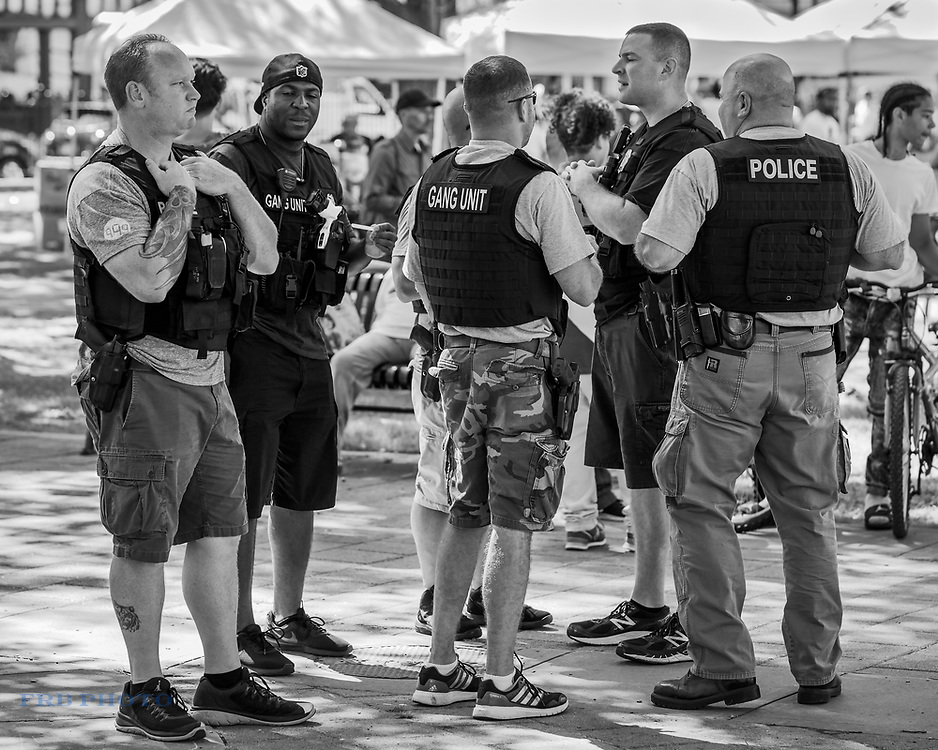 Worcester Massachusetts police gang unit at Latino festival at Worcester City Hall Common.