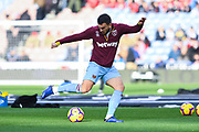 Robert Snodgrass of West Ham United (11) warming up during the Premier League match between Huddersfield Town and West Ham United at the John Smiths Stadium, Huddersfield, England on 10 November 2018.