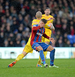 Crystal Palace's Dwight Gayle holds his face after he gets caught by Liverpool's Martin Skrtel   - Photo mandatory by-line: Alex James/JMP - Mobile: 07966 386802 - 23/11/2014 - Sport - Football - London -  - Crystal palace  v Liverpool - Barclays Premier League