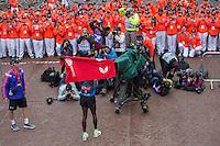Eliud Kipchoge of Kenya after winning the Elite Mens race at the Virgin Money London Marathon, Sunday 26th April 2015.<br /> <br /> Dillon Bryden for Virgin Money London Marathon<br /> <br /> For more information please contact Penny Dain at pennyd@london-marathon.co.uk