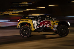 LIMA, Jan. 7, 2019  French driver Sebastien Loeb and Monaco co-driver Daniel Elena leave during the departure ceremony at the 2019 Dakar Rally Race, Lima, Peru, on Jan. 6, 2019. The 41st edition of Dakar Rally Race kicked off in Lima, Peru. (Credit Image: © Xinhua via ZUMA Wire)