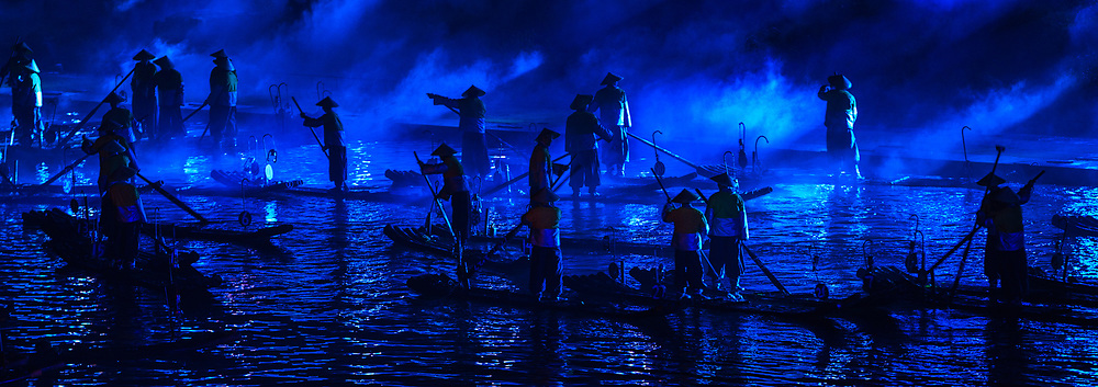 The Performance of Impression of Sister Liu (Liusanjie) goes to blue light on the Li River.