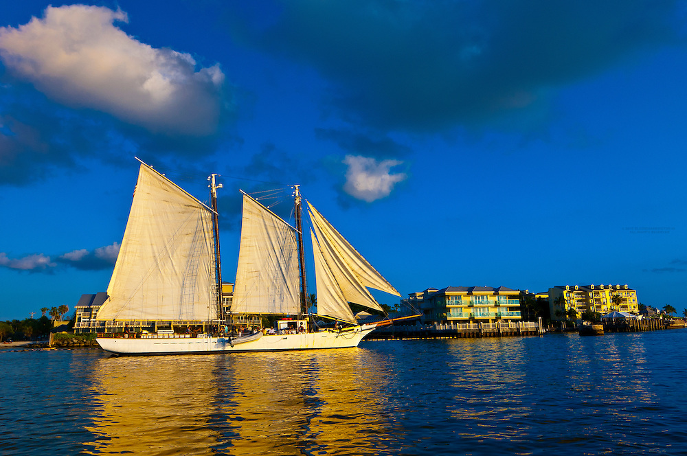 The Schooner Western Union sails by Mallory Square before the daily sunset celebration, Key West, Florida Keys, Florida USA
