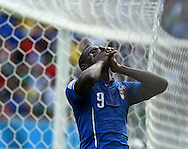 Mario Balotelli of Italy reacts to a missed chance during the 2014 FIFA World Cup match at Itaipava Arena Pernambuco, Recife metropolitan area<br /> Picture by Stefano Gnech/Focus Images Ltd +39 333 1641678<br /> 20/06/2014