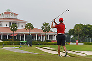 Zheng Kai BAI (CHN) hits his approach shot on 18 during Rd 3 of the Asia-Pacific Amateur Championship, Sentosa Golf Club, Singapore. 10/6/2018.<br /> Picture: Golffile | Ken Murray<br /> <br /> <br /> All photo usage must carry mandatory copyright credit (© Golffile | Ken Murray)