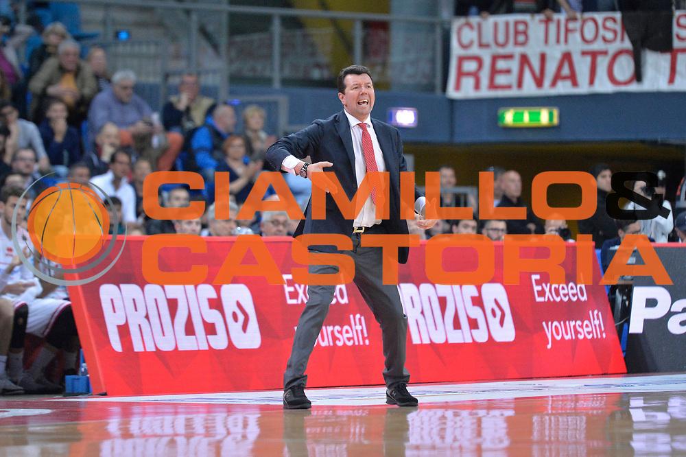 Spiro Leka<br /> Consultinvest Victoria Libertas Pesaro - EA7 Emporio Armani Olimpia MIlano<br /> Lega Basket Serie A 2016/2017<br /> Pesaro, 30/04/2017<br /> Foto M.Ceretti / Ciamillo - Castoria