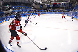 February 18, 2018 - Pyeongchang, KOREA - Switzerland forward Isabel Waidacher (24) in a hockey game between Switzerland and Korea during the Pyeongchang 2018 Olympic Winter Games at Kwandong Hockey Centre. Switzerland beat Korea 2-0. (Credit Image: © David McIntyre via ZUMA Wire)