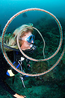 Diver and Whip Coral<br /> <br /> shot in Indonesia
