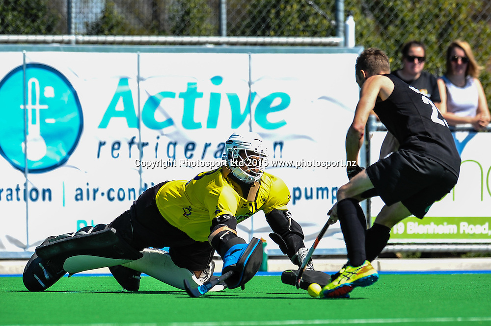 Harjot Singh of India save a shot from Hugo INGLIS of the Black Sticks during the Mens Hockey International, 2015 South Island Tour game between the New Zealand Black Sticks V India, at Marist Park, Christchurch, on the 11th October 2015. Copyright Photo: John Davidson / www.photosport.nz