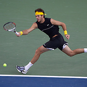 Juan Martin Del Potro, Argentina, in action against Roger Federer, Switzerland, during the Men's Singles Final Final at  the US Open Tennis Tournament at Flushing Meadows, New York, USA, on Monday, September 14, 2009. Photo Tim Clayton.
