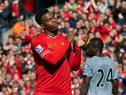 LIVERPOOL, ENGLAND - Sunday, May 11, 2014: Liverpool's Daniel Sturridge looks dejected despite beating Newcastle United 2-1 during the Premiership match at Anfield. (Pic by David Rawcliffe/Propaganda)