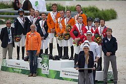 Team NED, Jeroen, Dubbeldam, Greco Schroder, Vrieling Jur, Maikel Van Der Vleuten, Rob Ehrens, Team FRA, Simon Delestre, Penelope Leprevost, Kevin Staut, Patrice Delaveau, TEAM USA, Mclain Ward, Kent Farrington, Lucy Davies, Beezie Madden - Jumping Second Round Team Competition - Alltech FEI World Equestrian Games™ 2014 - Normandy, France.<br /> © Hippo Foto Team - Dirk Caremans<br /> 04/09/14