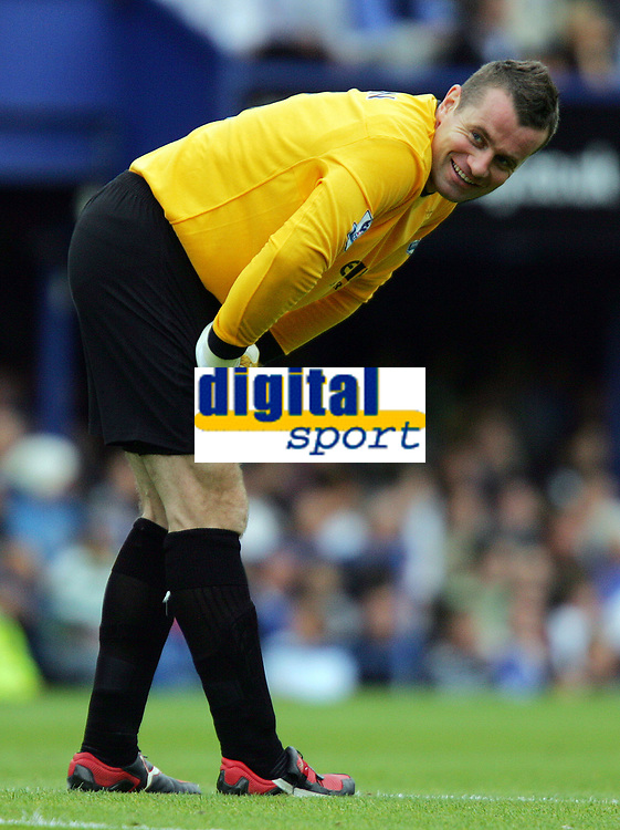 Portsmouth FC vs Manchester City FC Premiership 30/08/09<br /> Photo Nicky Hayes Fotosports International<br /> Man City keeper Shay Given gives the travelling fans a cheeky smile.