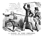 """A Lesson to John Chinaman. Mr Punch. """"Give it to him well, Pam, while you are about it!"""""""