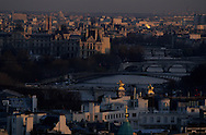 France. Paris.  Elevated view.  the Seine  the bridges and . view from the Saint Pierre de Chaillot  church
