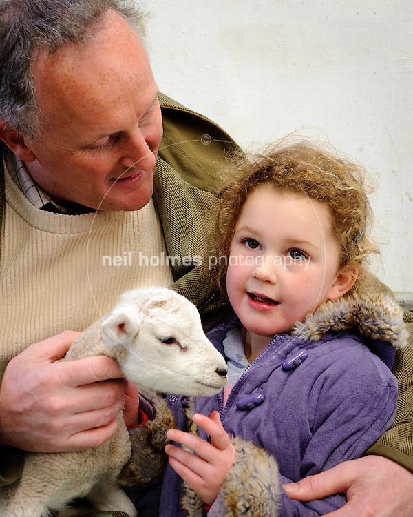 Lambing Sunday, 27th March 2011 at Bishop Burton College. Pictured Nigel Saunby and daughter Megan