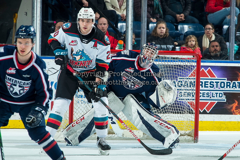 KELOWNA, BC - FEBRUARY 12: Matthew Wedman #20 of the Kelowna Rockets looks for the pass ahead of goaltender Talyn Boyko #31 of the Tri-City Americans at Prospera Place on February 8, 2020 in Kelowna, Canada. Wedman was selected in the 2019 NHL entry draft by the Florida Panthers. (Photo by Marissa Baecker/Shoot the Breeze)