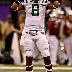 December 18, 2010; New Orleans, LA, USA; Ohio Bobcats quarterback Boo Jackson (8) during warm ups prior to kickoff against the Troy Trojans in the 2010 New Orleans Bowl at the Louisiana Superdome.  Mandatory Credit: Derick E. Hingle