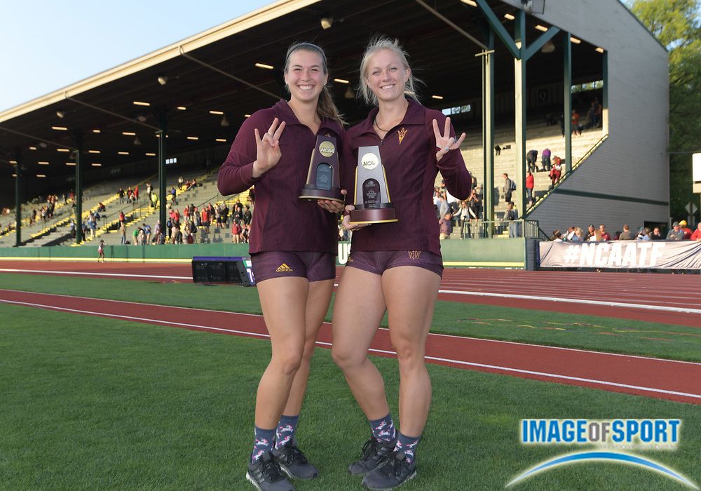 Jun 7, 2018; Eugene, OR, USA;  Maggie Ewen (left) and Samantha Noennig of Arizona State pose after placing first and seventh in the women's shot put during the NCAA Track and Field championships at Hayward Field.