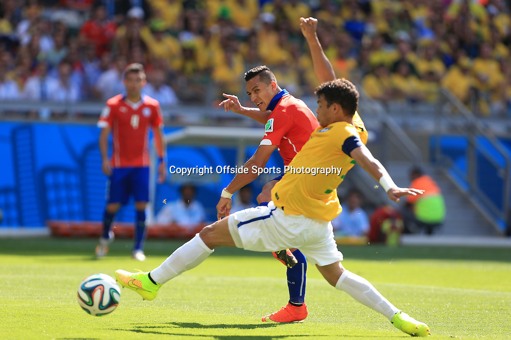 28th June 2014 - FIFA World Cup - Round of 16 - Brazil v Chile - Alexis Sanchez of Chile scores their 1st goal - Photo: Simon Stacpoole / Offside.