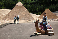 Pyramids Replica at Tobu World Square - a theme park near Nikko and Kinugawa Onsen. The theme park boasts 42 exquisitely crafted scale models of famous UNESCO  Heritage Sites, complete  with 140,000 miniature people.  Along with the World Heritage Sites, more mundane buildings are Tokyo Station, Narita Airport and Tokyo Dome, along with show pavilions for various hokey performances.